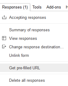 The pre-fill Url option can be found under the Responses menu