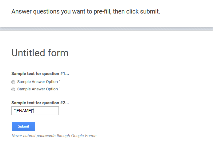 The form can be pre-filled with the variables of the newsletter tool